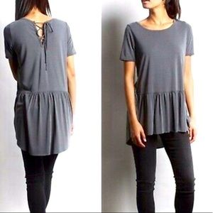 Mote Gray High low Babydoll Peasant top Large